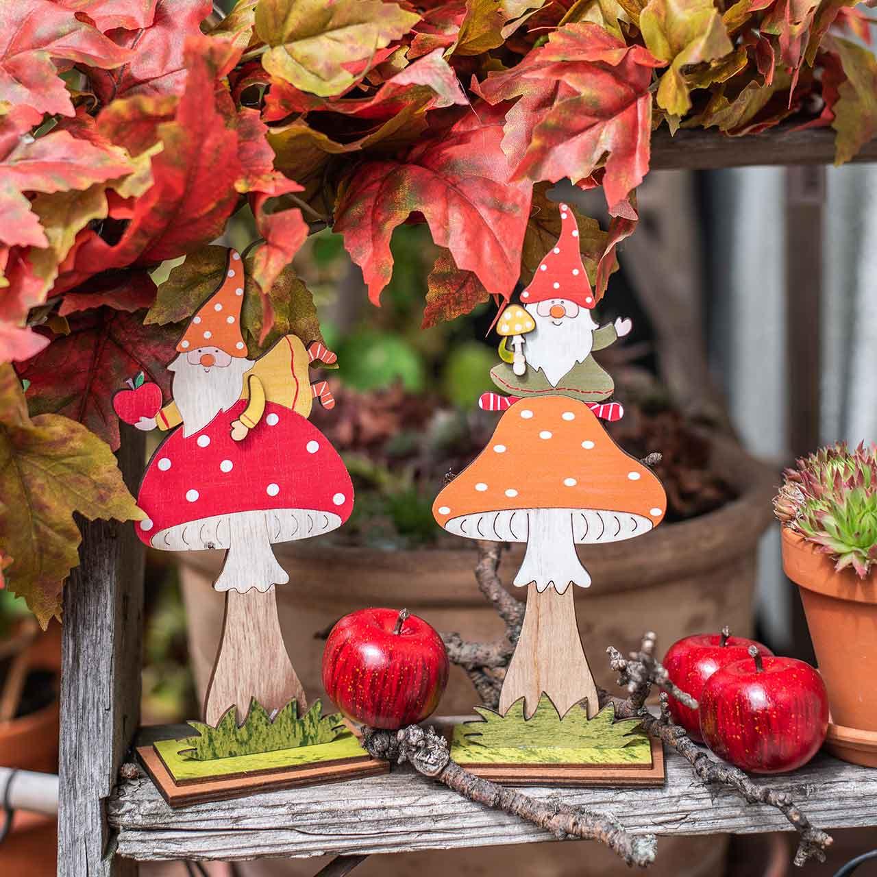 Amanita muscaria para otoño, decoración de madera, gnomo en seta naranja / rojo H21 / 19.5cm 4ud