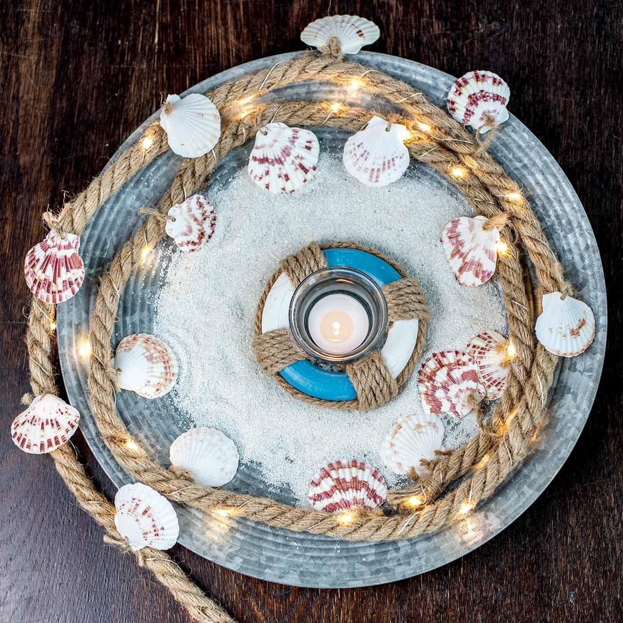 Cordón de yute con conchas y LED restaurante decorativo de pescado de 200 cm
