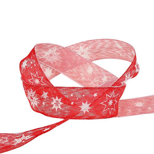 Cinta de navidad roja con estampado de estrellas 25mm 20m