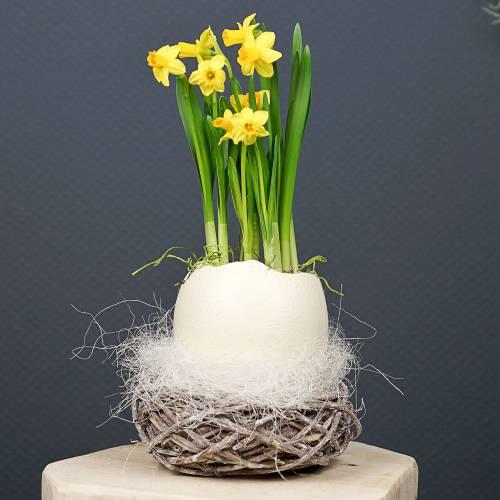 Cesta de Pascua de ramitas, natural, blanco lavado Ø13cm 3ud