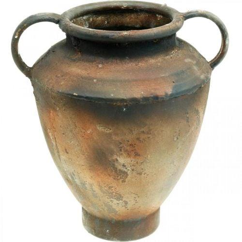 Ánfora aspecto antiguo para jarrón de plantación de metal decoración de jardín Al 29cm