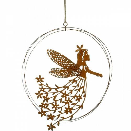 Colgante flor elfo, decoración primaveral, anillo decorativo con hada, pátina Ø17cm 3ud
