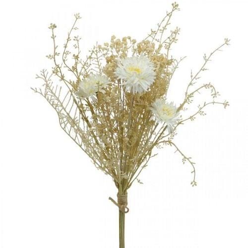 Ramo artificial de ásteres y gypsophila beige, blanco 43cm