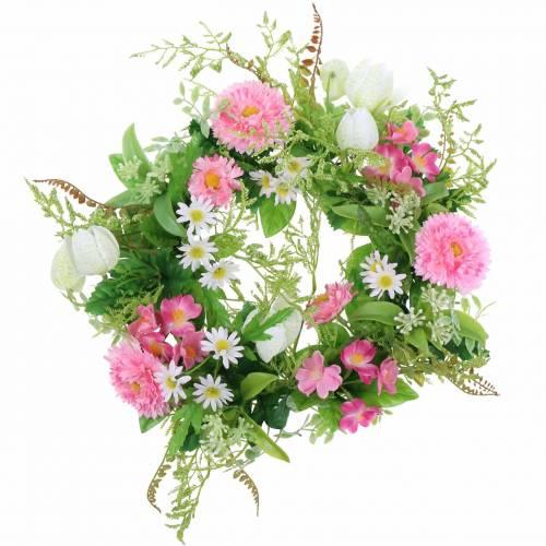 Guirnalda / tablero Bellis flor rosa, blanco Ø30cm
