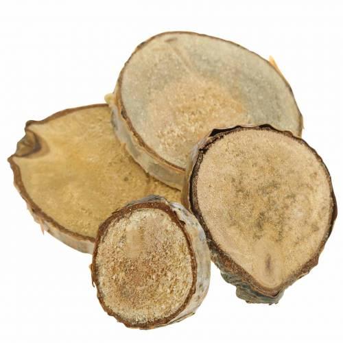 Rodajas de abedul redondo natural 5cm 1kg para decorar con corteza