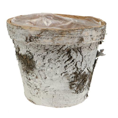 Maceta de abedul blanco lavado Ø13cm H11cm