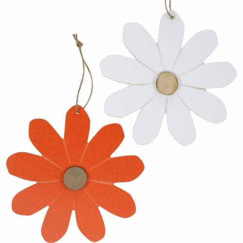 Colgantes de flores, flores decorativas naranjas y blancas, decoración de madera, verano, flores decorativas 8 piezas
