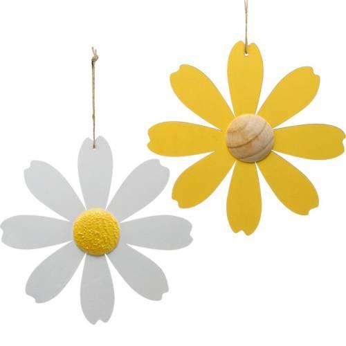 Flores de madera, decoración de verano, margaritas amarillas y blancas, flores decorativas para colgar 4 piezas