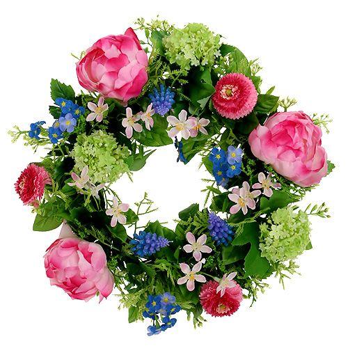 Corona de flores peonía, Bellis Ø30cm rosa