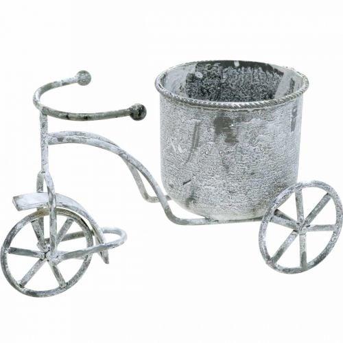Macetero bicicleta metal vintage blanco lavado 24 × 13 × 14cm