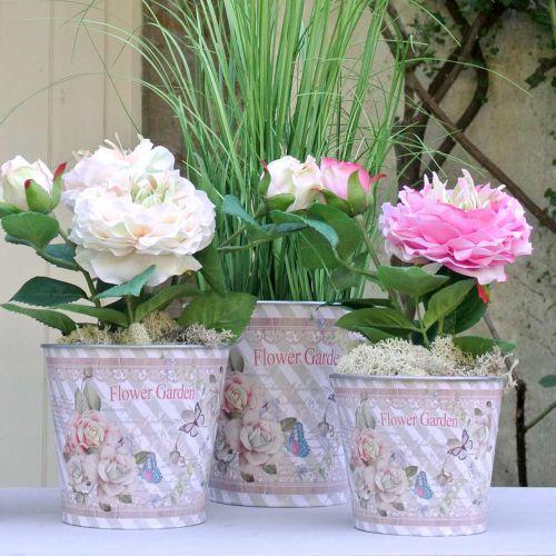 Jardinera de metal rosas decoración de verano Ø15cm H15.5cm