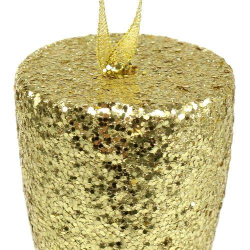 Percha copa champagne oro claro brillo 15cm Nochevieja y Navidad