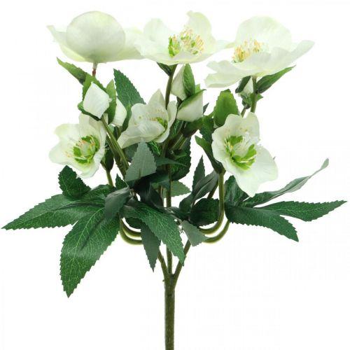 Ramo decorativo de rosas navideñas blancas flores artificiales arreglo navideño 27cm