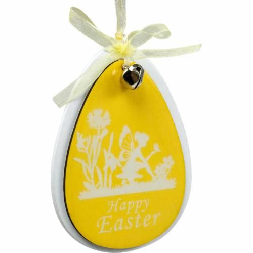 Huevos de Pascua decorativos para colgar madera blanca, amarilla Decoración de Pascua decoración de primavera 6pcs