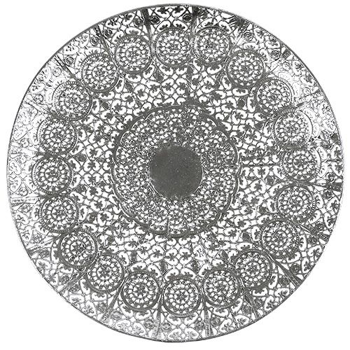 Plato decorativo plateado con motivo Ø35cm
