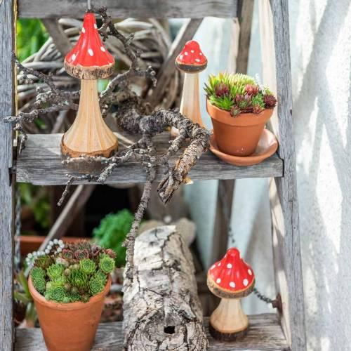 Toadstools decorativos de madera roja, natural 13.5cm - 19cm 3pcs