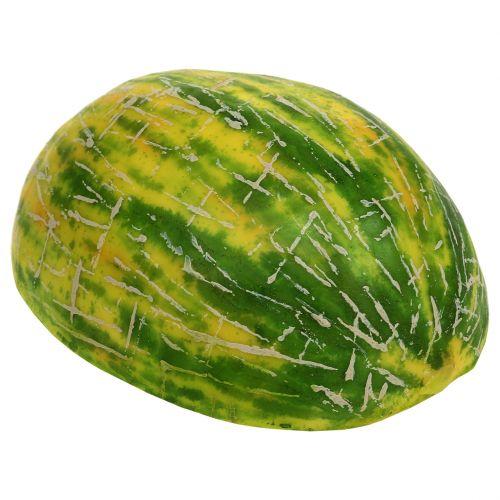 Deco melón de miel a la mitad naranja, verde 13cm