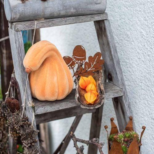 Calabaza decorativa curvada naranja flocada Calabaza decorativa artificial 18cm