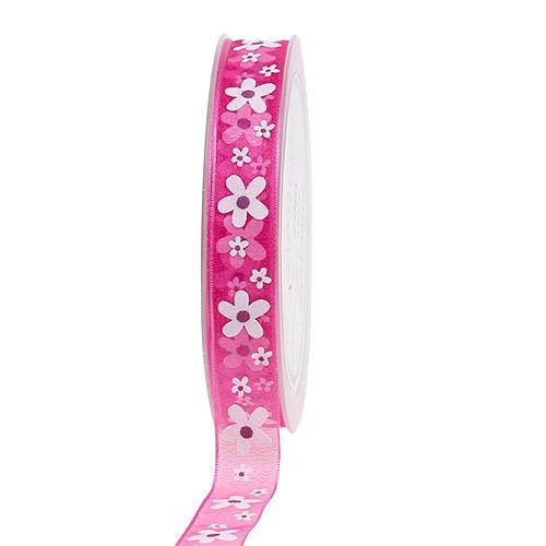 Cinta de regalo para la decoración Pink con motivo floral 15mm 20m