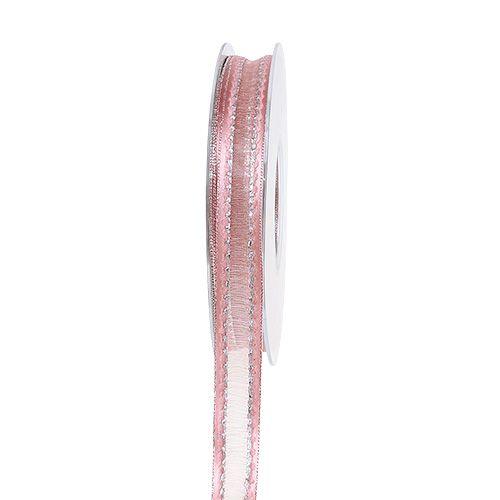 Cinta decorativa rosa con rayas lurex en plata 15mm 20m