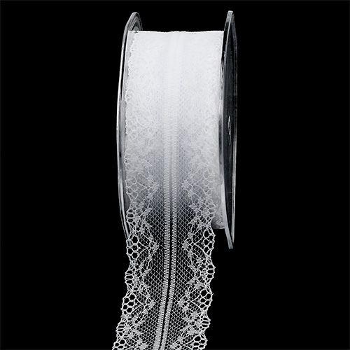 Cinta decorativa puntilla blanca 40mm 20m
