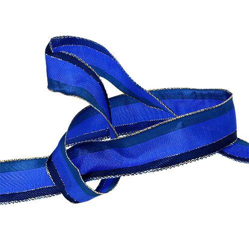 Cinta decorativa con borde de alambre azul 25mm 20m