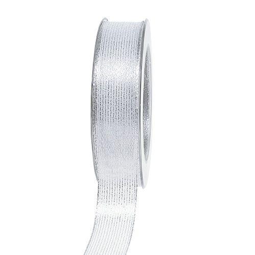 Cinta decorativa con rayas lurex plata 25mm 20m