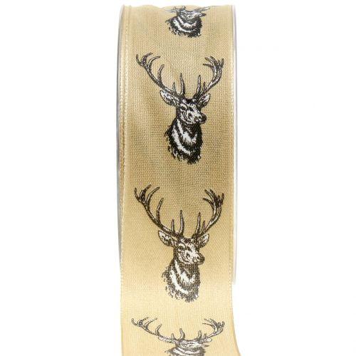 Cinta de regalo para la decoración nature con motivo de ciervo 40mm 20m