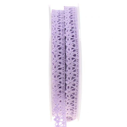 Cinta de regalo para la decoración crochet encaje lila 12mm 20m