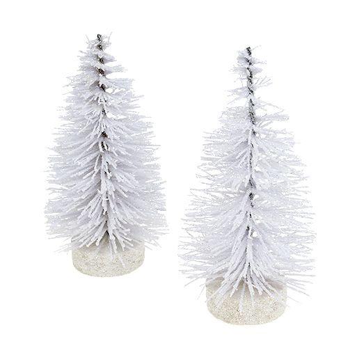 Deko tree esmaltado blanco H14cm 4pcs