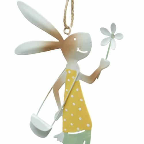 Figuras decorativas par de conejitos, decoración de metal, conejitos de Pascua para colgar, decoración de primavera 4 piezas