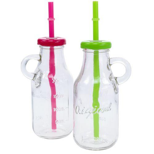 Botellas decorativas con tapa y paja H14,5cm.