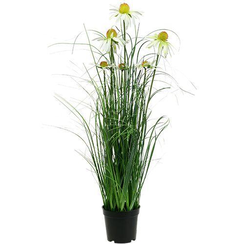 Hierba artificial con manzanilla en maceta 66cm