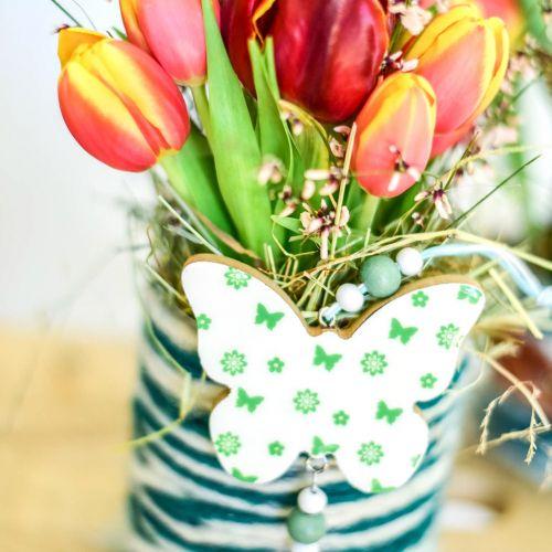 Decoración colgante corazón flor mariposa blanco, verde madera primavera decoración 6 piezas