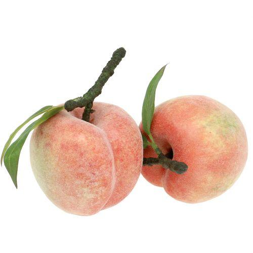 Fruta decorativa melocotón rosa Ø8cm L10cm 4pcs
