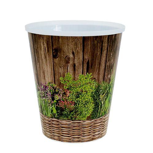 Jardinera para decorar la mesa con motivos herbales Ø12cm H13, 5cm, 1p