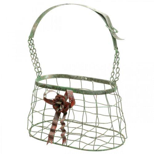 Bolsa con asa, canasta de metal, maceta de alambre, canasta de macetero L28.5cm H33cm