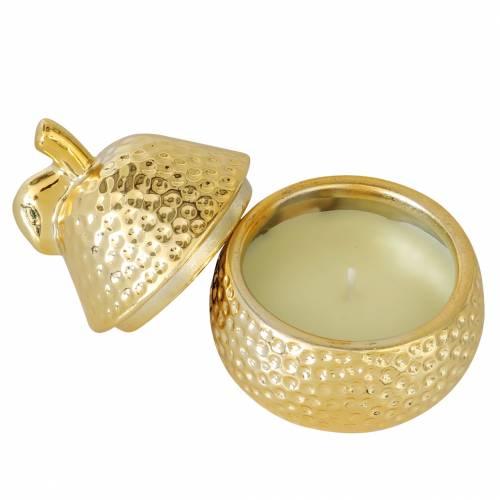 "Vela aromática ""Magnolia & Pear Blossom"" en un joyero de pera oro Ø7,4cm H9cm"