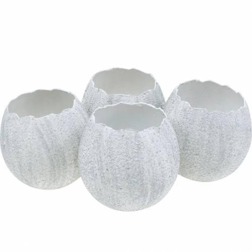 Cáscara de huevo para plantar, decoración de Pascua, jardinera, clara de huevo decorativa plateada 4 piezas