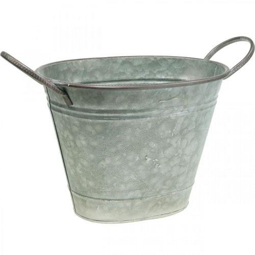 Macetero, recipiente de metal con asas, cuenco decorativo L32cm H24cm