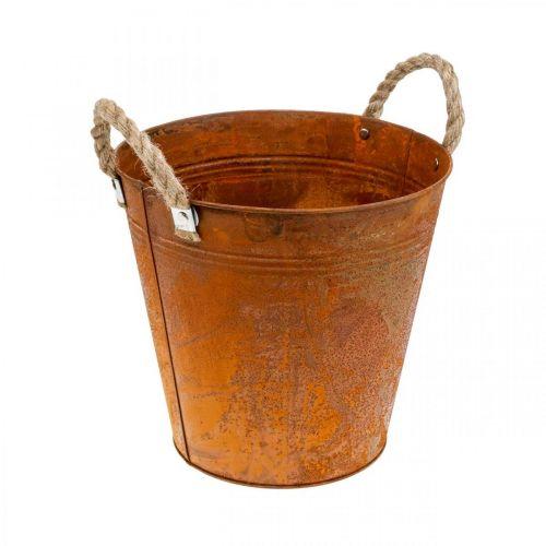 Jardinera con asas, cuenco de jardinera, recipiente de metal con decoración de óxido Ø25cm H24cm