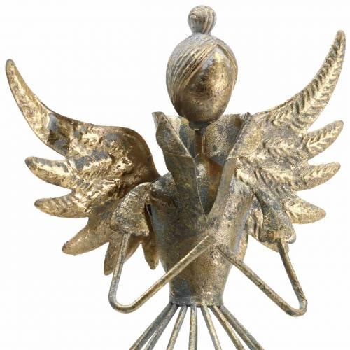 Ángel decorativo metal oro antiguo Ø9.2 H22cm