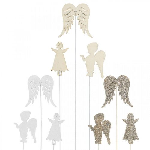 Adviento tapón ángel, alas para pegar, ángel de madera, decoración navideña natural, blanco, purpurina dorada 18ud