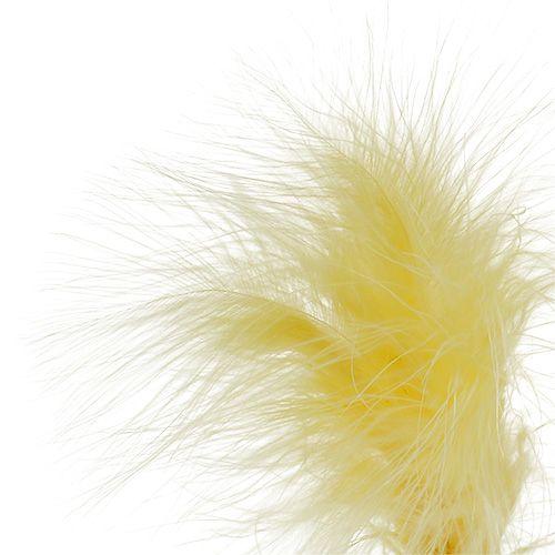 Plumas sobre varilla Amarillo L30cm 12pzs
