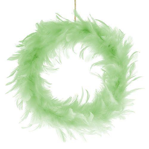 Corona de plumas Verde claro Ø20cm 3pzs