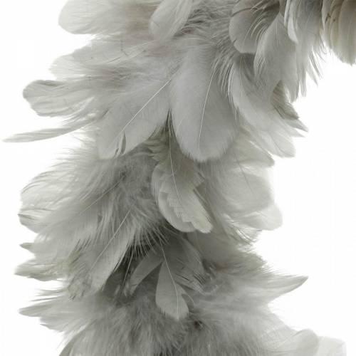 Decoración de Pascua corona de primavera grande gris claro Ø40cm decoración de primavera plumas reales