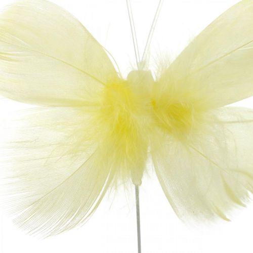 Mariposas decorativas en un alambre, decoraciones primaverales, mariposas de plumas en tonos amarillos 6ud