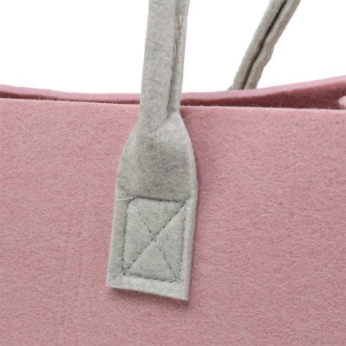 Bolso de fieltro rosa 50cm x 25cm x 25cm
