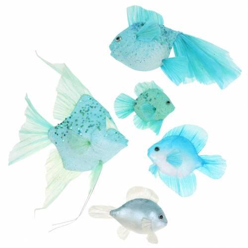 Pez decorativo para colgar azul turquesa verde gris 10-22cm 5pcs