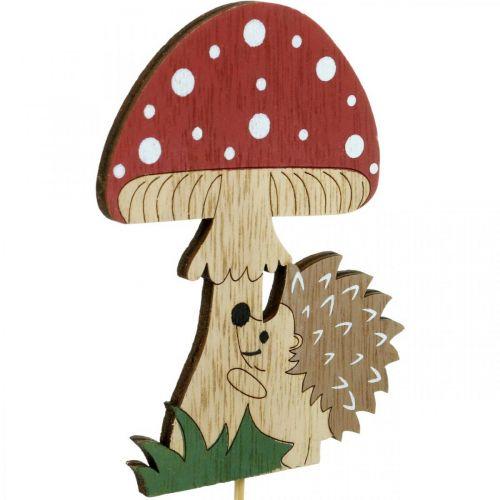 Enchufe decorativo, decoración de madera otoñal, erizo con seta Al11cm L34cm 12ud